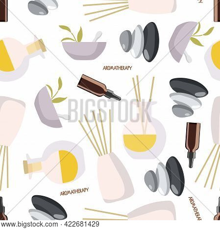 Seamless Pattern With Aroma Diffusers, Essential Oil In Bottle, Herbs In Mortar, Balance Stones For