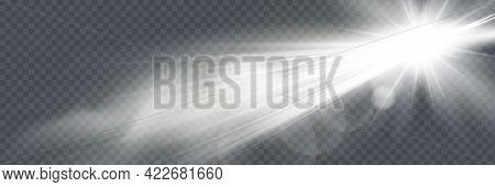 White Glowing Light Explodes On A Transparent Background. Vector Illustration Of Light Decoration Ef