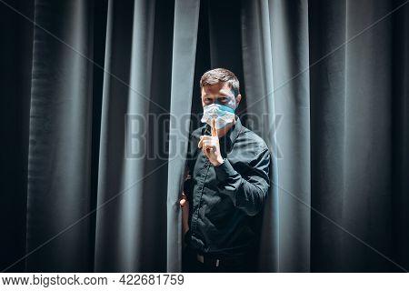 Do Not Speak Too Loud, Please. Man Makes Hush Gesture.