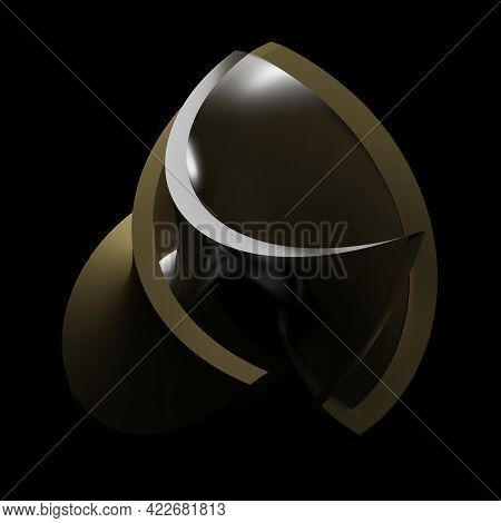 Abstract Twisted Bronze Surface With Twisted Glass Inside, On Black Background - 3d Rendering Illust