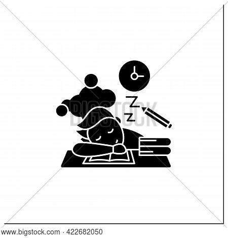 School Procrastinating Glyph Icon.unnecessarily Postpone Dealing Tasks. Sleep At Lesson. Tired Perso