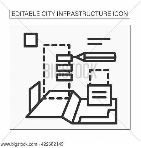 Planning City Icon. Technical Process Of Development And Design Of Land Use. House Plan. Home Bluepr