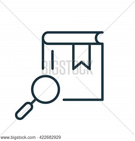 Magnifying Glass With Book Line Icon. Search Books Concept. Bookstore Linear Icon. Search Button For