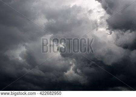 Dark Storm Clouds Before Rain. The Concept Of A Threat, An Ominous Warning. Use As Texture, Backgrou
