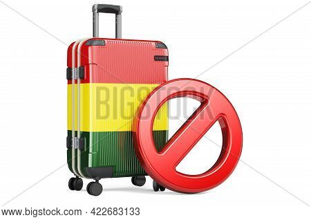 Bolivia Entry Ban. Suitcase With Bolivian Flag And Prohibition Sign. 3d Rendering Isolated On White
