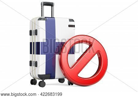 Finland Entry Ban. Suitcase With Finnish Flag And Prohibition Sign. 3d Rendering Isolated On White B