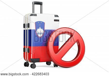 Slovakia Entry Ban. Suitcase With Slovak Flag And Prohibition Sign. 3d Rendering Isolated On White B