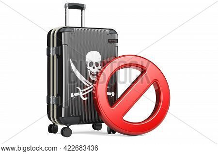 Suitcase With Piracy Flag And Prohibition Sign. 3d Rendering Isolated On White Background