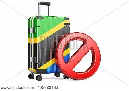 Tanzania Entry Ban. Suitcase With Tanzanian Flag And Prohibition Sign. 3d Rendering Isolated On Whit