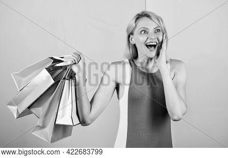 Savings On Purchases. Happy Woman Shopper. Big Sale. Female Shopaholic Hold Shopping Bags. Present P