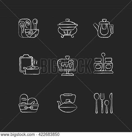 Trendy Tableware Chalk White Icons Set On Dark Background. Specially Designed Kitchenware. Forks, Kn
