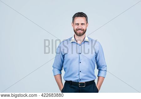 Unshaven Male Employer In Formalwear Or Office Manager, Copy Space, Manager