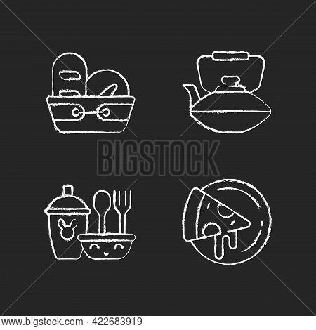 Kitcken Dinnerware Chalk White Icons Set On Dark Background. Kitchen Bread Basket. Pizza Plates For