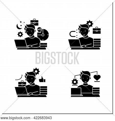 Workaholic Glyph Icons Set. Workaholism Prevention And Consequences. Workaholism Treatment, Ethic An