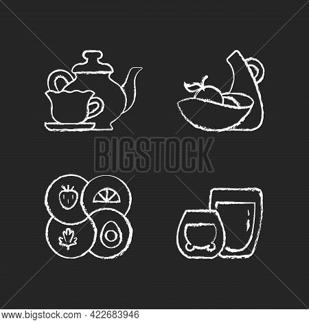 Trendy Kitchenware Chalk White Icons Set On Dark Background. Sectional Plate And Divided Dish. Doubl