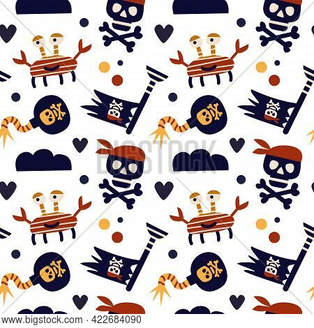 Vector Illustration. Seamless Pattern On A Pirate Theme. Crab, Bomb, Skull With Bones, Pirate Flag.