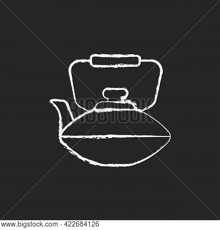 Chinese Iron Teapot Chalk White Icon On Dark Background. National Types Of Dinnerware. Old Fashioned