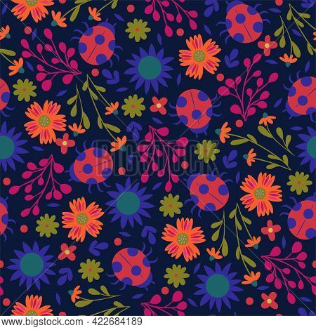 Seamless Pattern With Ladybirds And Flowers. Vector Image.