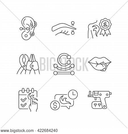 Tattoo And Piercing Creation Linear Icons Set. Salon For Creating Unique Body Look. Customizable Thi
