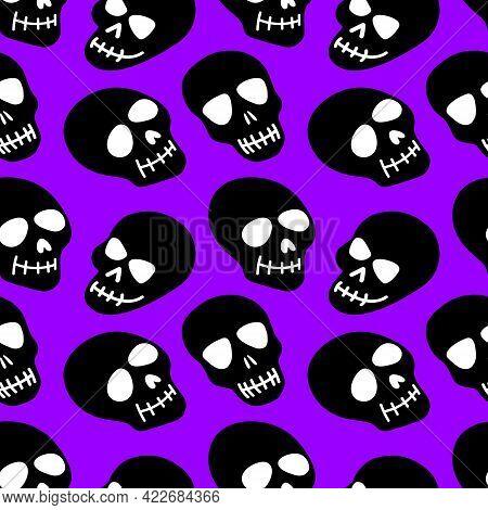 Skull Pattern. Black Skulls On A Purple Background.vector Illustration. Bright And Fashionable Desig