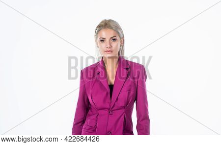 Fashionable Woman In Pink Jacket With Platinum Blonde Hair Isolated On White Background, Fashion