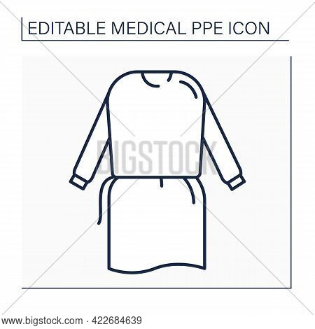 Isolation Gown Line Icon. Personal Protective Equipment. Special Equipment For Surgeons. Medical Ppe