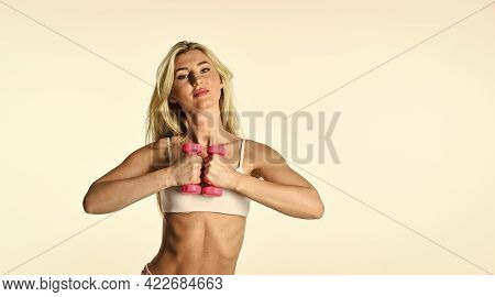 Sport Training. Healthy Body. Girl In Gym With Dumbbells. Great Shape. Female Fitness Girl Lifting D