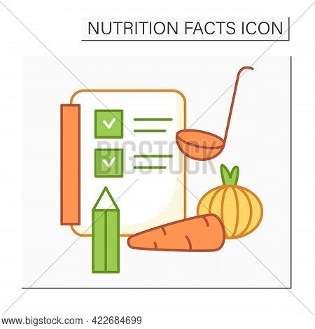 Ingredient List Color Icon. Nutrition Facts Label. Healthy, Balanced Nutrition. Diet. Nutrition Fact