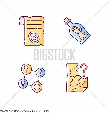 Mystery Quest Rgb Color Icons Set. Paper Shit With Fingerprint. Message In Bottle. Part Of Mystery Q