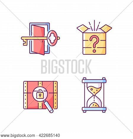 Puzzle Rgb Color Icons Set. Find Key To Get Out. Mystery Box. Time Countdown. Clues For Riddle. Part