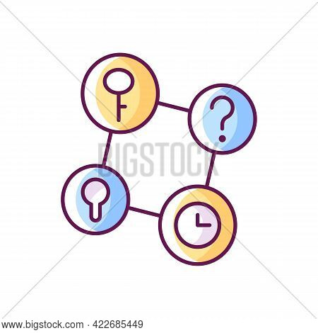 Connecting Facts Rgb Color Icon. Mind Game. Analyze Question. Solving Puzzles, Clues For Riddles. Pa