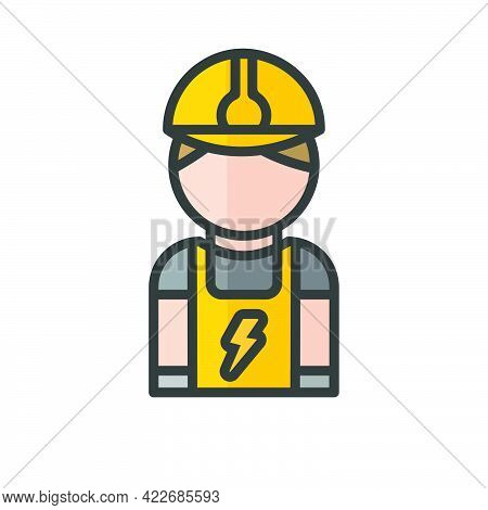 Electrician Avatar. Man Working With Electricity. Profile User, Person. People Icon. Isolated Vector