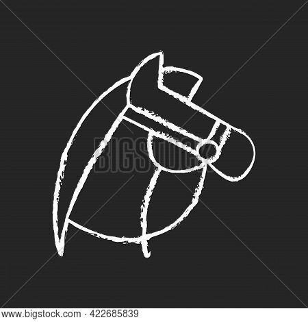 Horseback Riding Chalk White Icon On Dark Background. Equestrian Sport. Stretching Muscles. Caring F