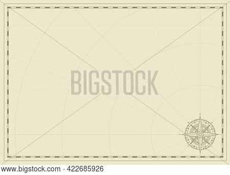 Vintage Background With Wind Rose Compass Sign And Place For Text. Vector Illustration On The Theme