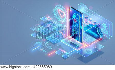Healthcare And Medicine Technology. Future Medical Tech. Online Telemedicine. Medical Video Consulta