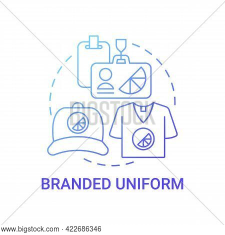 Branded Uniform Concept Icon. Corporate Branding Material Abstract Idea Thin Line Illustration. Comp