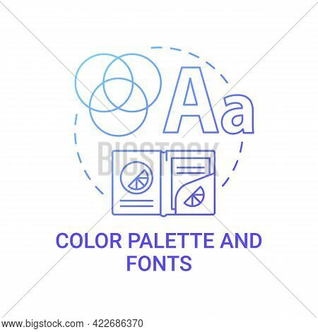 Color Palette And Fonts Concept Icon. Business Branding Abstract Idea Thin Line Illustration. Expres