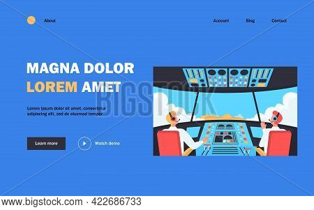 Colorful Airplane Cockpit Isolated Flat Vector Illustration. Two Cartoon Pilots Sitting Inside Plane