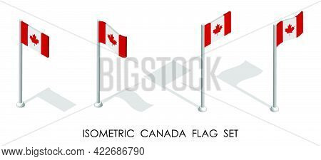 Isometric Canada Flag In Static Position And In Motion On Flagpole. 3d Vector