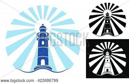 Sea Marine Coastal Lighthouse Illuminates Way. Safe And Secure Route Selection In Shipping Area. Vec