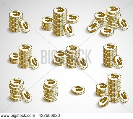 Coin Stack Cash Money Or Casino Chips Still-life, Vector Icon Set, Illustration Or Logo Collection,