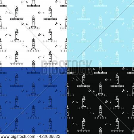Set Of Seamless Patterns With Marine Coastal Lighthouse. Safe Route In Shipping Area. Ornament For D