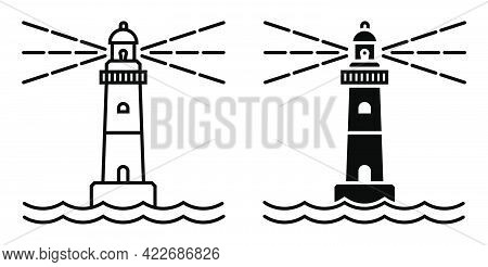 Marine Coastal Lighthouse. Safe Route In Shipping Area. Simple Black And White Vector