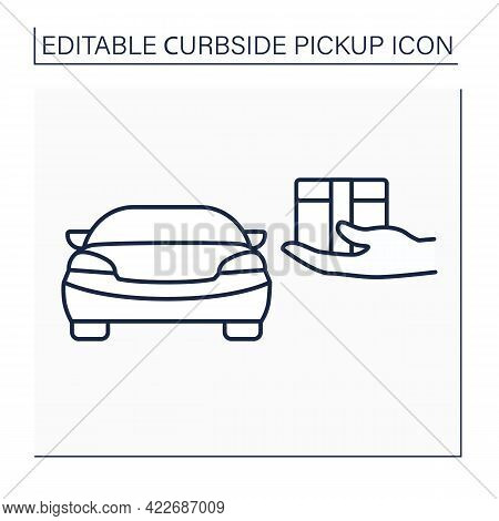 Curbside Pickup Line Icon.store Associate Brings Pickup Order Out To Consumer Vehicle. Contact-free