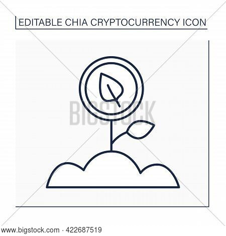 Farming Chia Coin Line Icon. Farmers Seed Unused Space On Hard-disk Drive By Installing Software. Co