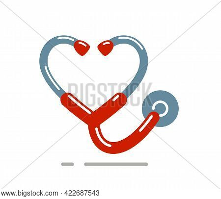 Heart Shaped Stethoscope Vector Simple Icon Isolated Over White Background, Cardiology Theme Illustr