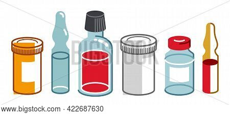 Set Of Medical Bottles And Vials Vector Flat Style Illustration Isolated Over White, Meds Drugstore