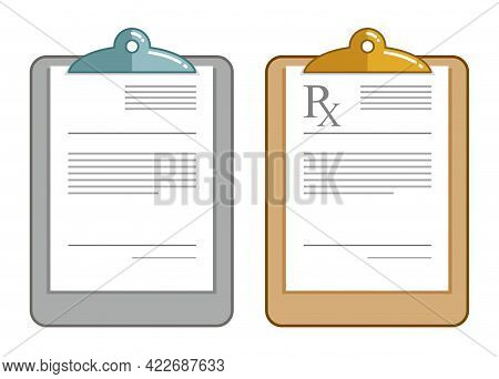 Medical Rx Prescription Vector Flat Illustration Isolated On White.