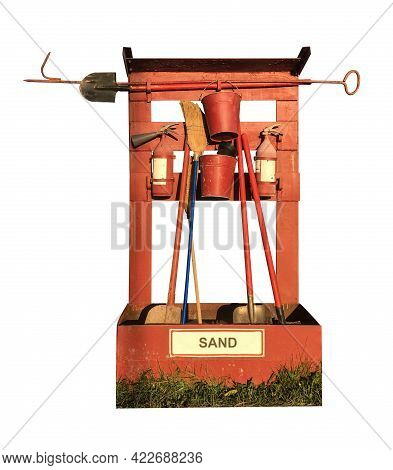 Fire Shield At A Gas Station With Fire Extinguishing Means: Fire Extinguisher, Sand, Shovel, Hook, B