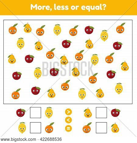 More, Less Or Equal. Educational Math Game For Kids Preschool And School Age. Fruits. Lemon, Apple,